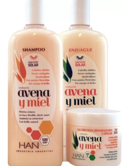 Han Kit Avena Y Miel Shampoo + Enj + Mascara Apto Curly Girl
