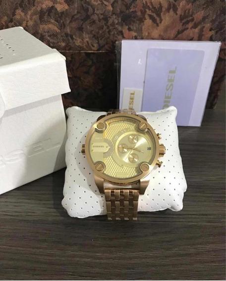 Relógio Diesel Dourado Com Caixa Dz 7287