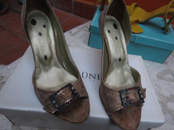 Zapatos Dorados Nro 35.5 Taco 8 Cm Perfectos