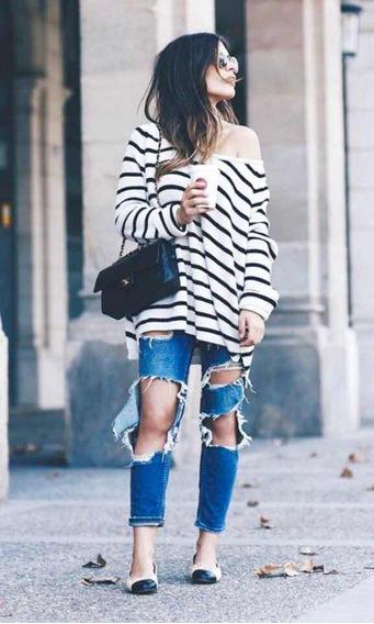 Suéter Blanco Con Azul H&m