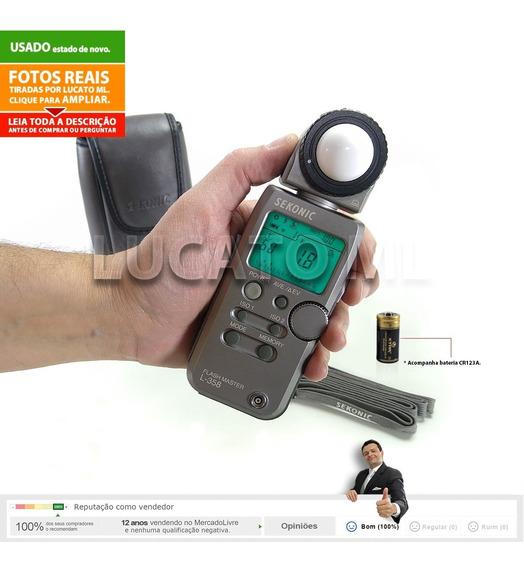 Fotômetro Flash Master Sekonic L358 + Capa + Alça + Bateria