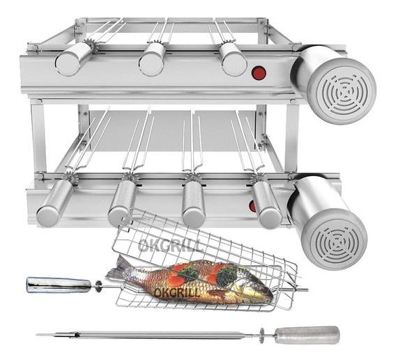 Churrasqueira Inox Gira Grill 7 Espetos Giratórios 2 Motores