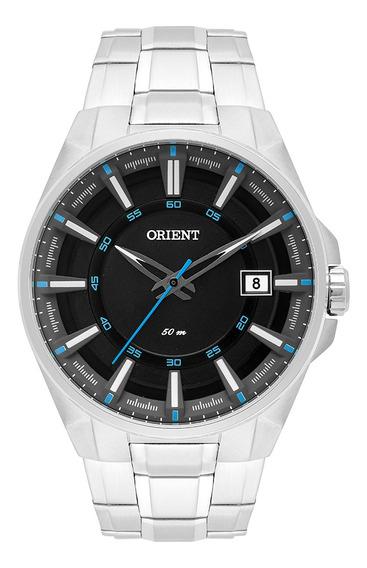Relógio Prata Luxo Preto Orient Masculino Mbss1313pasx