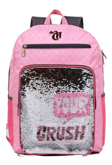 Mochila De Costas Capricho Lantejoulas Crush Pink
