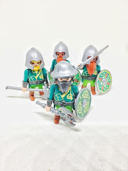 Playmobil Lote Kit 4 Boneco Soldado Guerreiro Medieval Anão