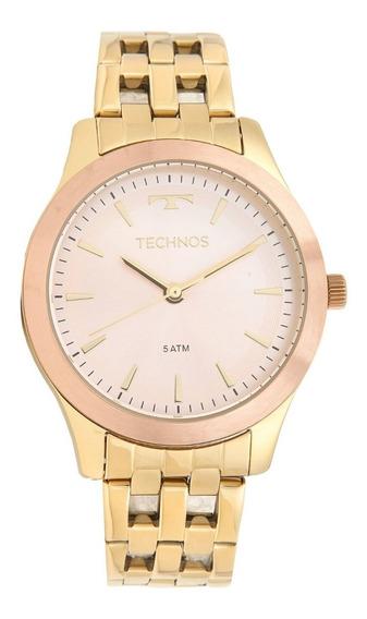 Relógio Technos Dourado E Rosê Feminino 2035mpm/5t + Frete