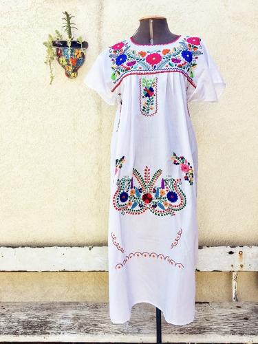 Vestido Mexicano Longo Bordado A Mão Cru - Varal