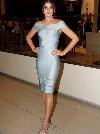 Vestido Herve Bandage Azul Gris Xs S M L