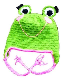 Gorro De Rana De Crochet Para Bebés De 0 A 3 Meses De Edad