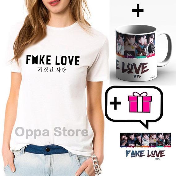 Bts Fake Love Combo K-pop Remera + Taza + Sticker De Regalo!