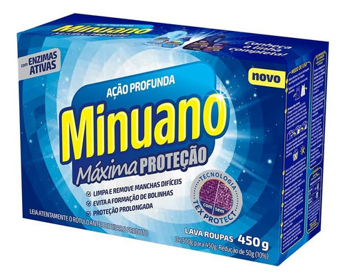 Detergente Em Pó Minuano Ação Profunda Máxima Proteção 450g