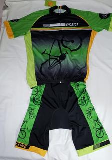 Camisa, Bretelle, Bermuda Ciclismo Feminino Unissex P - Plus