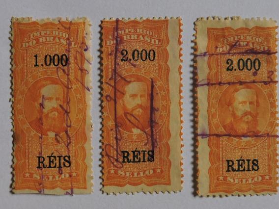 Brasil 3 Selos Fiscais Imperio D. Pedro I I