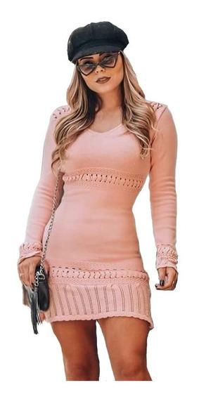 Vestido Curto Feminino Manga Longa Trico Tricot Modal Croche