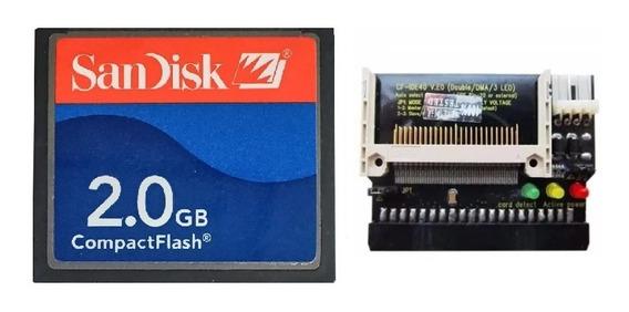Cartão Memória Compact Flash Sandisk Cf 2gb + Adaptador Ide