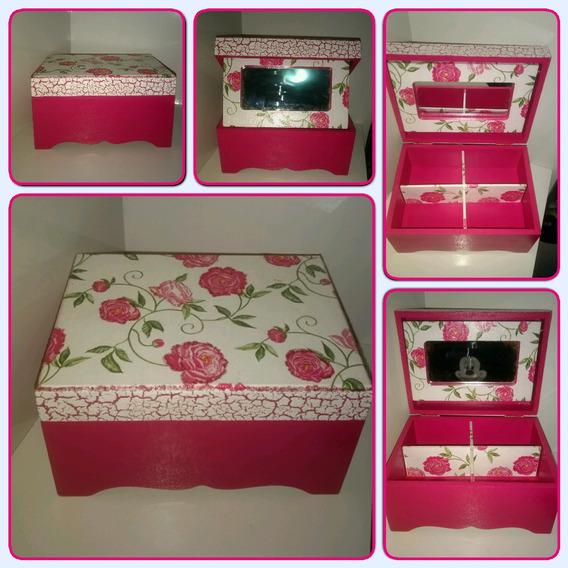 Porta Joia Com Espelho Rosa Pink