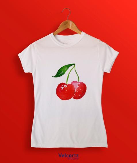 Playera Cereza Acuarela Mujer Watercolor Rojo Pastel Fruit