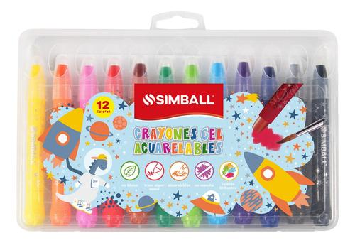 Crayones Gel Acuarelables Simball Estuche X12 Para Vidrios,