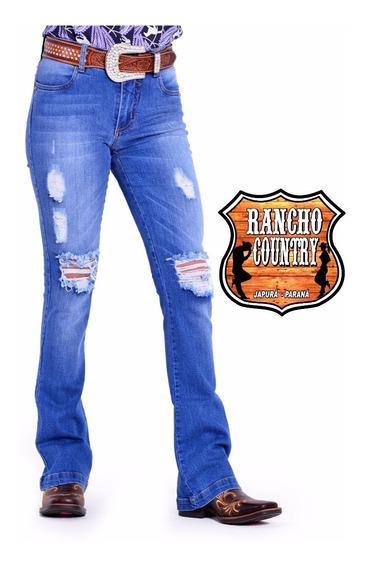 Calça Jeans Country Arame Feminina Hot Destroyer Cos Alto