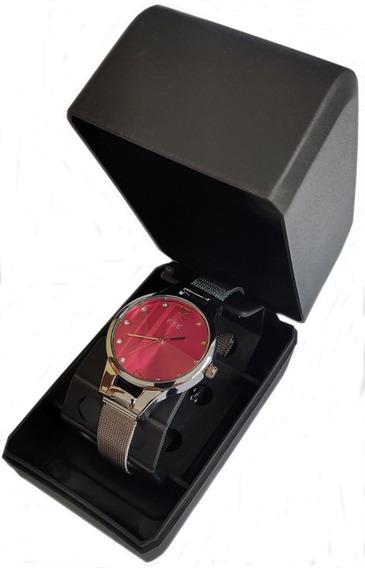 Relógio Barato Feminino Ccq Com Strass Prata
