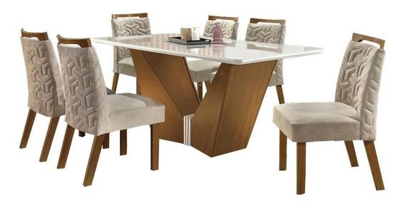 Conjunto Mesa De Jantar Luxo-seis Cadeiras, Tampo De Vidro