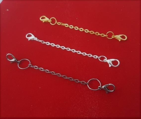 3 Extensores Colar 8cm Banho: 1 Ouro+ 1prata+ 1grafite B1122