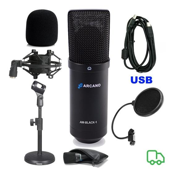 Microfone Arcano Black + Pedestal De Mesa +popfilter +aranha
