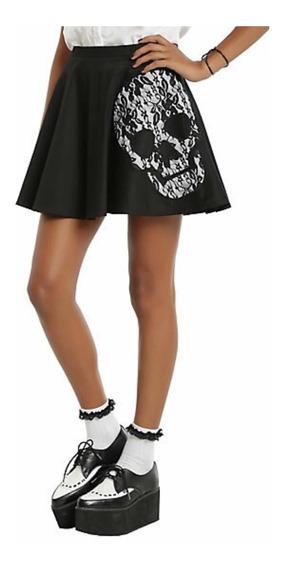 Falda Negra Skull De Hot Topic