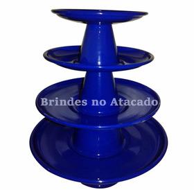 Kit Bandejas Alumínio 4pc Pratos Boleira Bailarina Azul Escu