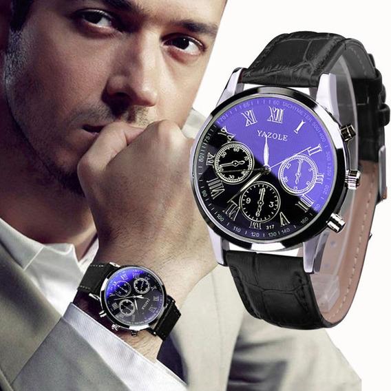 Relógio De Pulso Masculino Em Couro Luxo Clássico