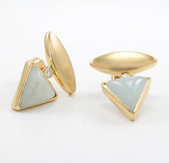 Brincos Design Quartzo E Diamante Em Ouro Amarelo 18k 750.