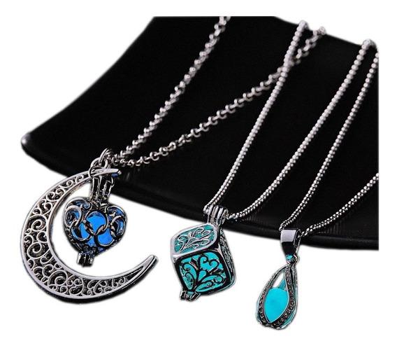 Collar Luna Corazón Brilla Oscuridad Original + Envió De Regalo