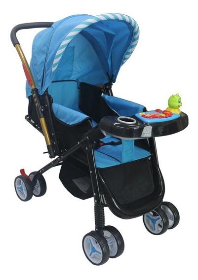 Carrinho De Bebe Vira Berço Alça Reversível Azul Deko