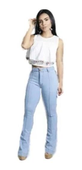 Calça Jeans Cintura Alta Hot Pants Boca Larga Flare Sino
