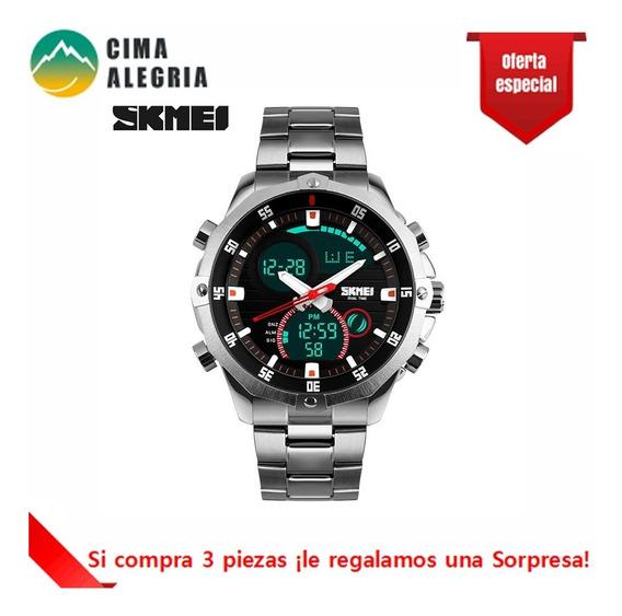 Reloj Analogo De Metal Alarma Dos Zonas Horarias