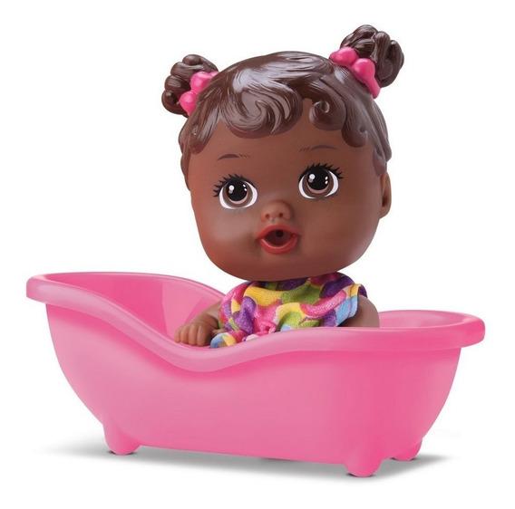 Boneca Baby Little Dolls Alive Banheirinha Negra - Divertoys