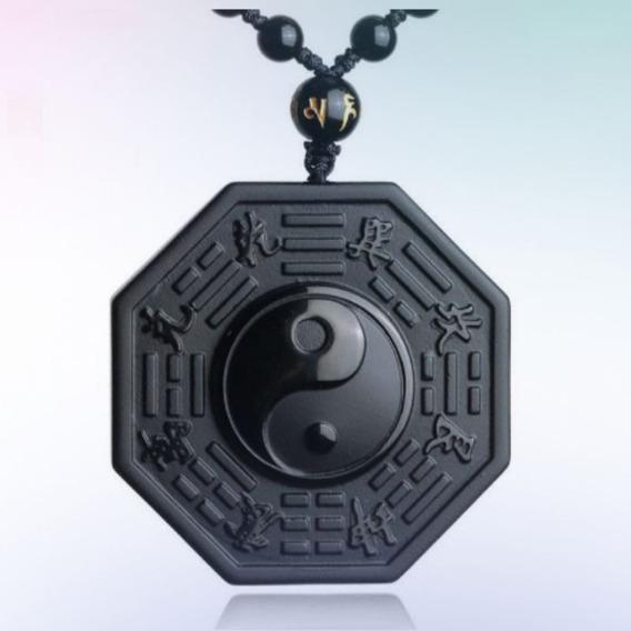 Colar Cordão Masculino Yin Yang Obsidiana Negra Amuleto Sorte Proteção