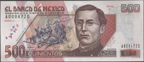 Imagen 1 de 2 de Mexico, 500 Nuevos Pesos 10 Dic 1992 Serie A P104