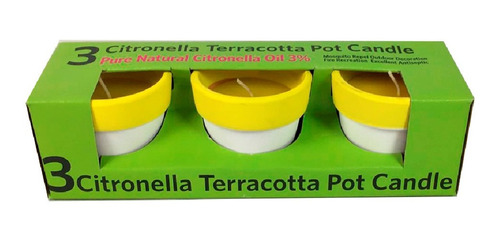 Velas Citronella En Macetas De 3 Tamaño 6.8x6.5cm -
