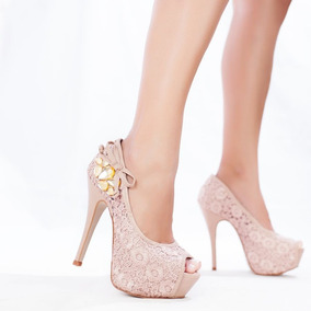 Sapato Peep Toe Alto Fino Sandália Noiva Renda Casamento Fes