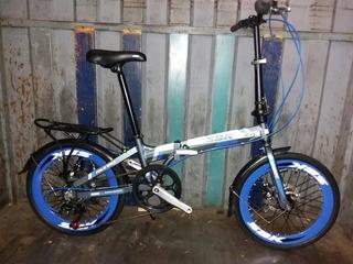 Bicicleta Rodado 20 Plegable 6 Velocidades Aluminio Sbk