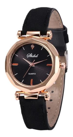 Relógio Feminino Ouro Rosé Quartz Luxo C/ Cx Presente Cores