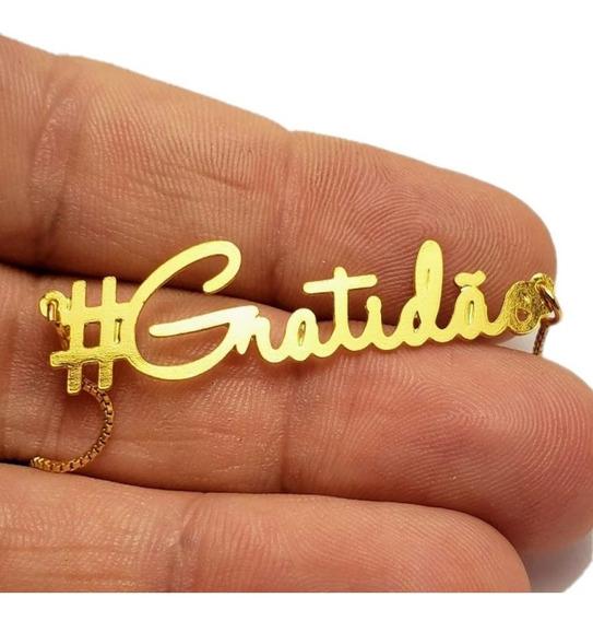 Pulseira Gratidão Semijoia Em Ouro 18k Com Garantia