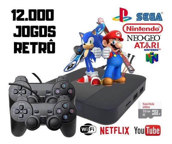 Video Game Portatil 12000 Jogos Antigos C/ 2 Controles Play2