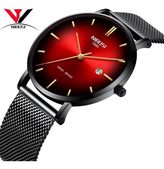 Relógio Nibosi Ultra Slim De Luxo Funcional Original Barato