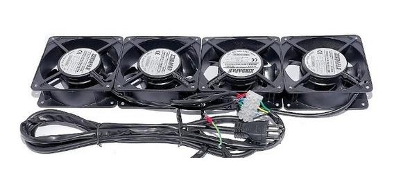 Kit Ventilação Para Rack 4 Ventiladores Rp Pt Avr0004pp Tda