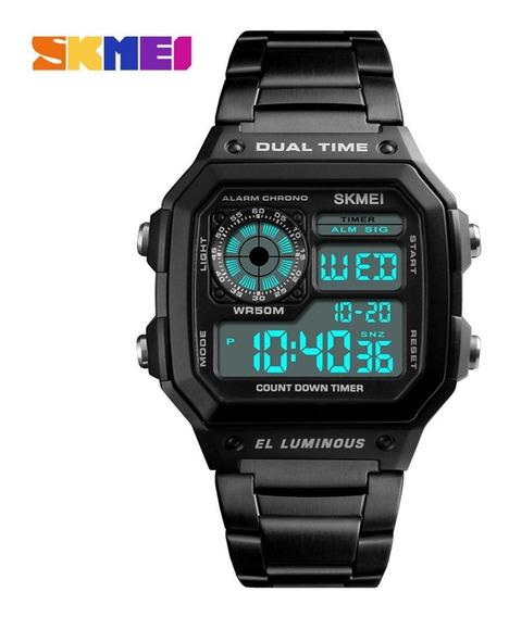 Skmei Man Dual Time Display Relógio Led Digital Quartzo Anal