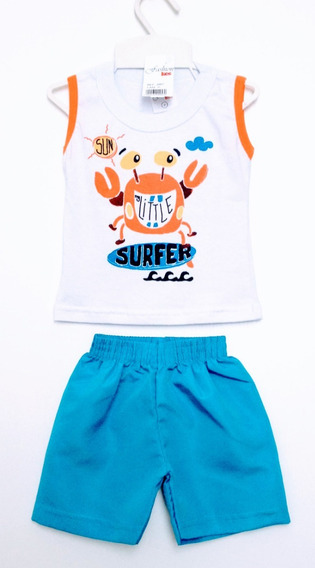 Conjunto Camiseta E Short Tactel Bebê Fashion Kids Tam Pmg