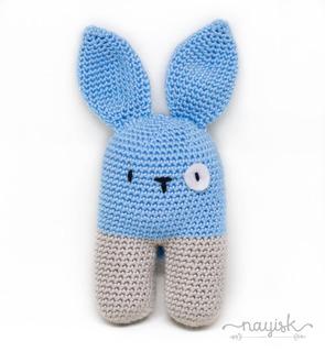 Amigurumi Sonaja Crochet Ganchillo Conejo Bipedo Azul Cielo