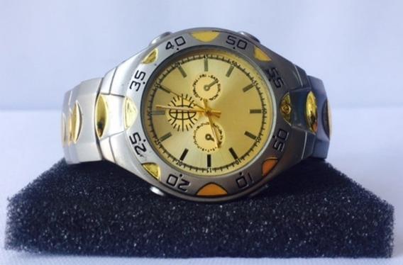 Reloj De Pulsera Cuarzo Vintage Plateado Gold Hombre Reman